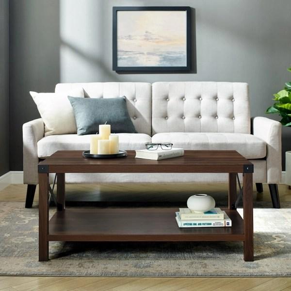 walnut x frame rustic wood coffee table