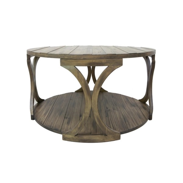 wooden round hawthorne coffee table