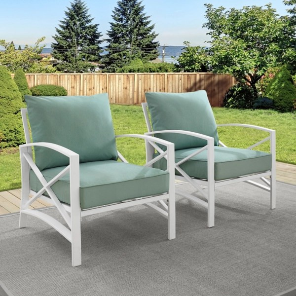 green and white dayton outdoor chairs set of 2