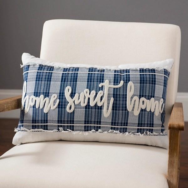 plaid home sweet home pillow