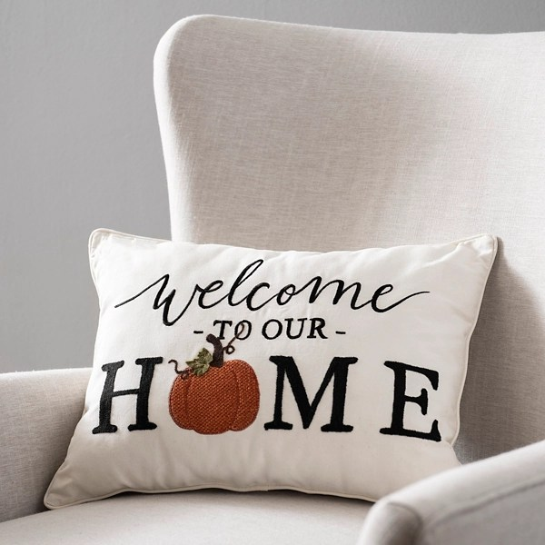 welcome to our home accent pillow