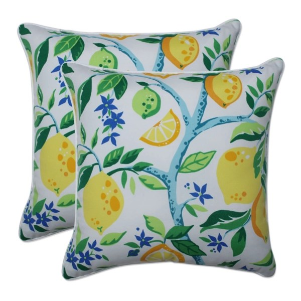 lemon vines outdoor throw pillows set of 2