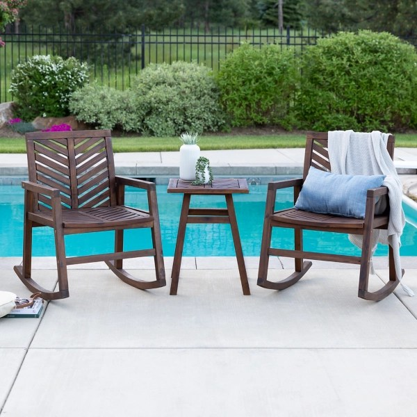 brown outdoor rocking chair and table 3 pc set