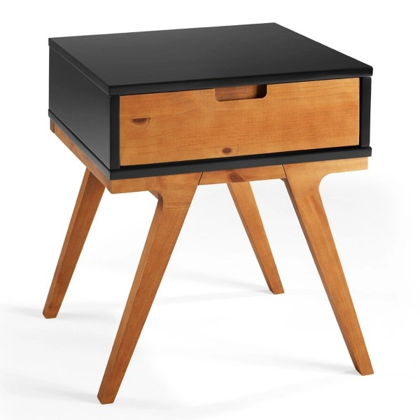 black and caramel mixed material accent table