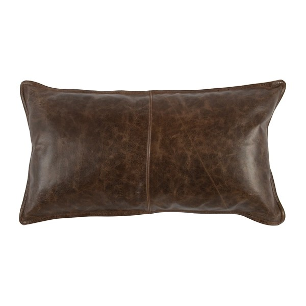 cocoa brown distressed leather lumbar pillow