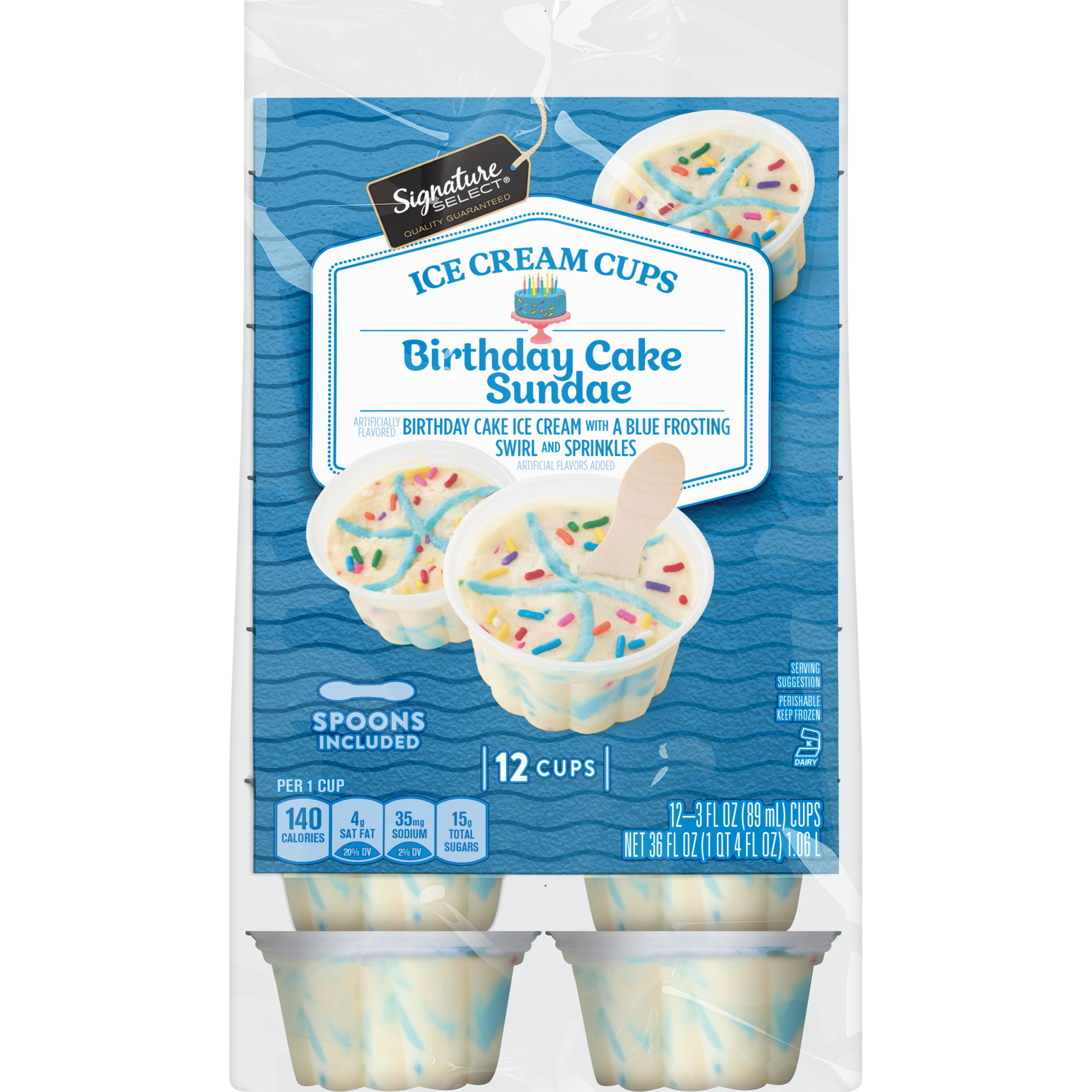 Smartlabel Birthday Cake Sundae Ice Cream With A Blue Frosting Swirl And Sprinkles 021130134267