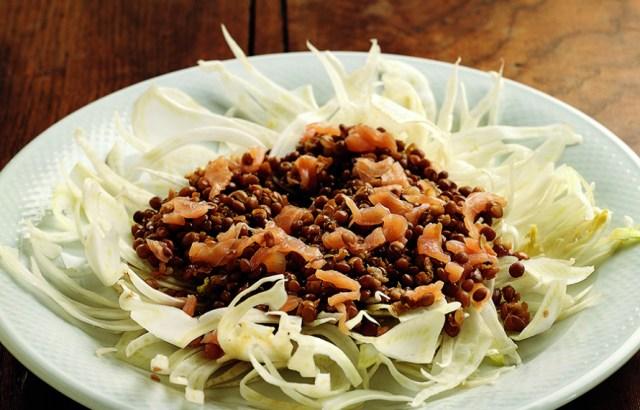 Risultati immagini per insalata di lenticchie finocchi e salmone