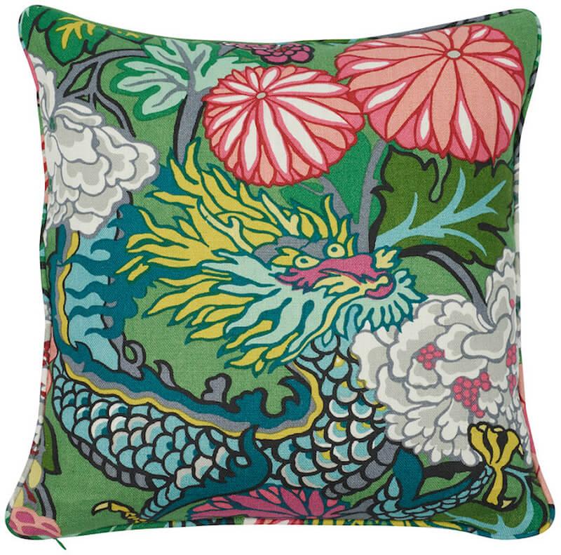 schumacher pillow chiang mai dragon pillow jade