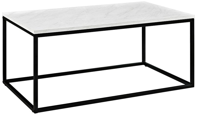 adeline 42 wide faux white marble and metal coffee table