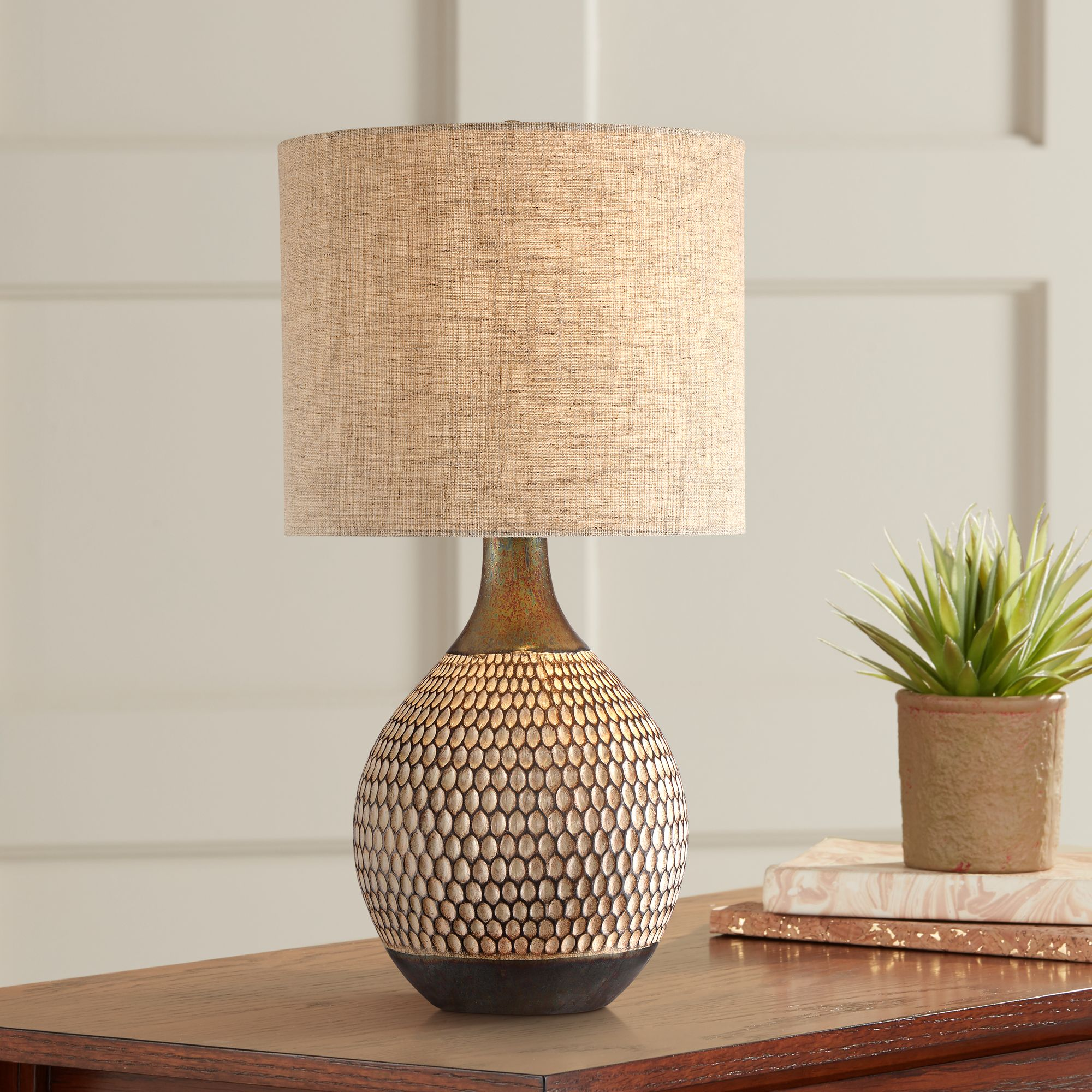 Details About Mid Century Modern Accent Table Lamp Brown Ceramic Living Room Bedroom Bedside