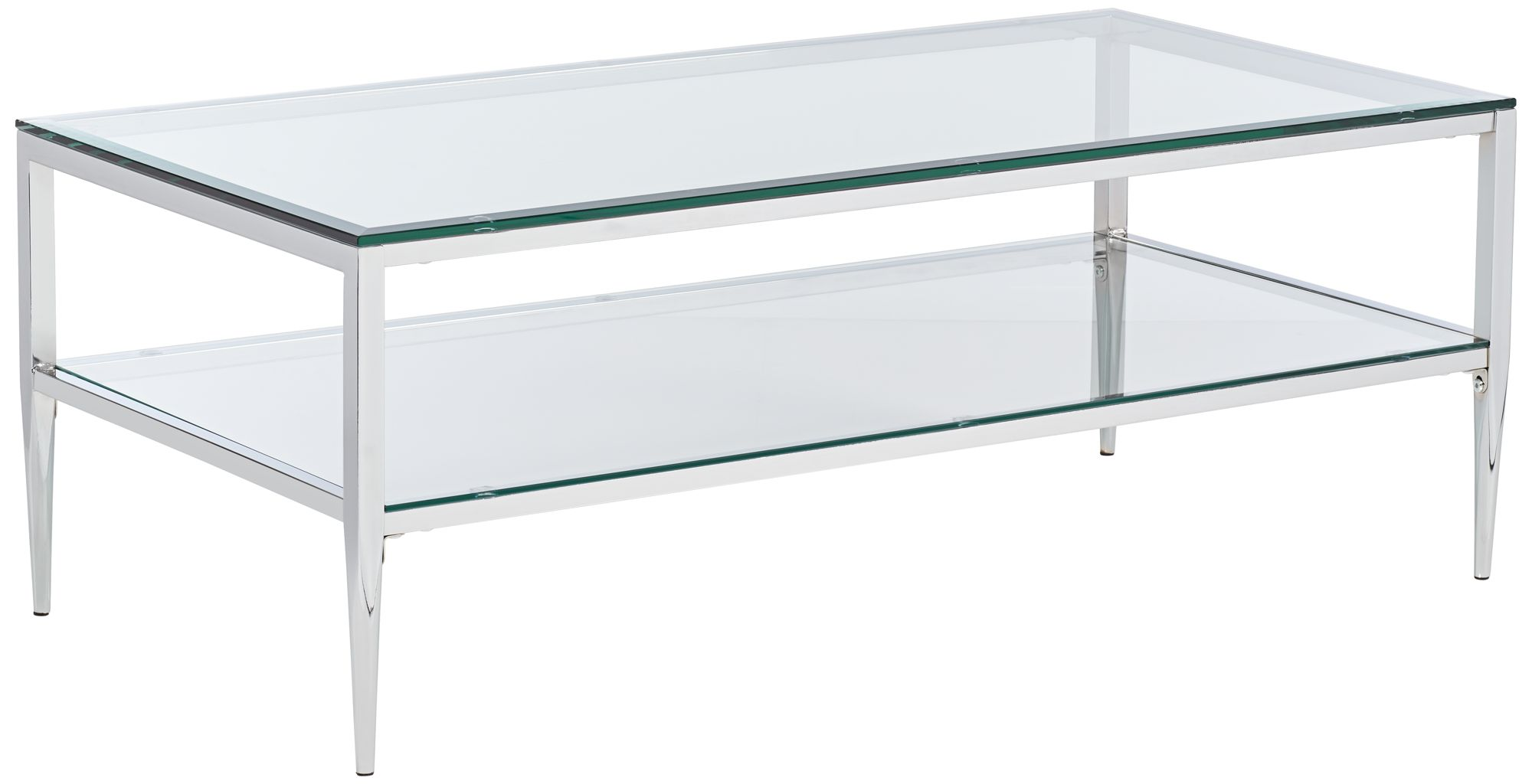tanika 48 wide chrome and glass rectangular coffee table