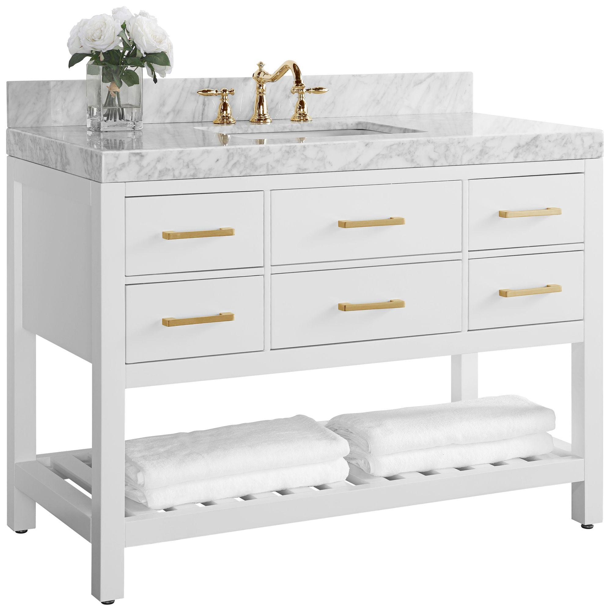 elizabeth 48 w gold hardware white marble single sink vanity