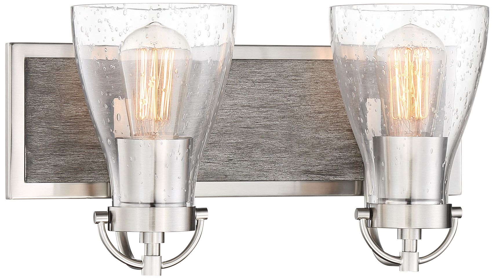 garrison 8 1 2 h brushed nickel and wood 2 light wall sconce