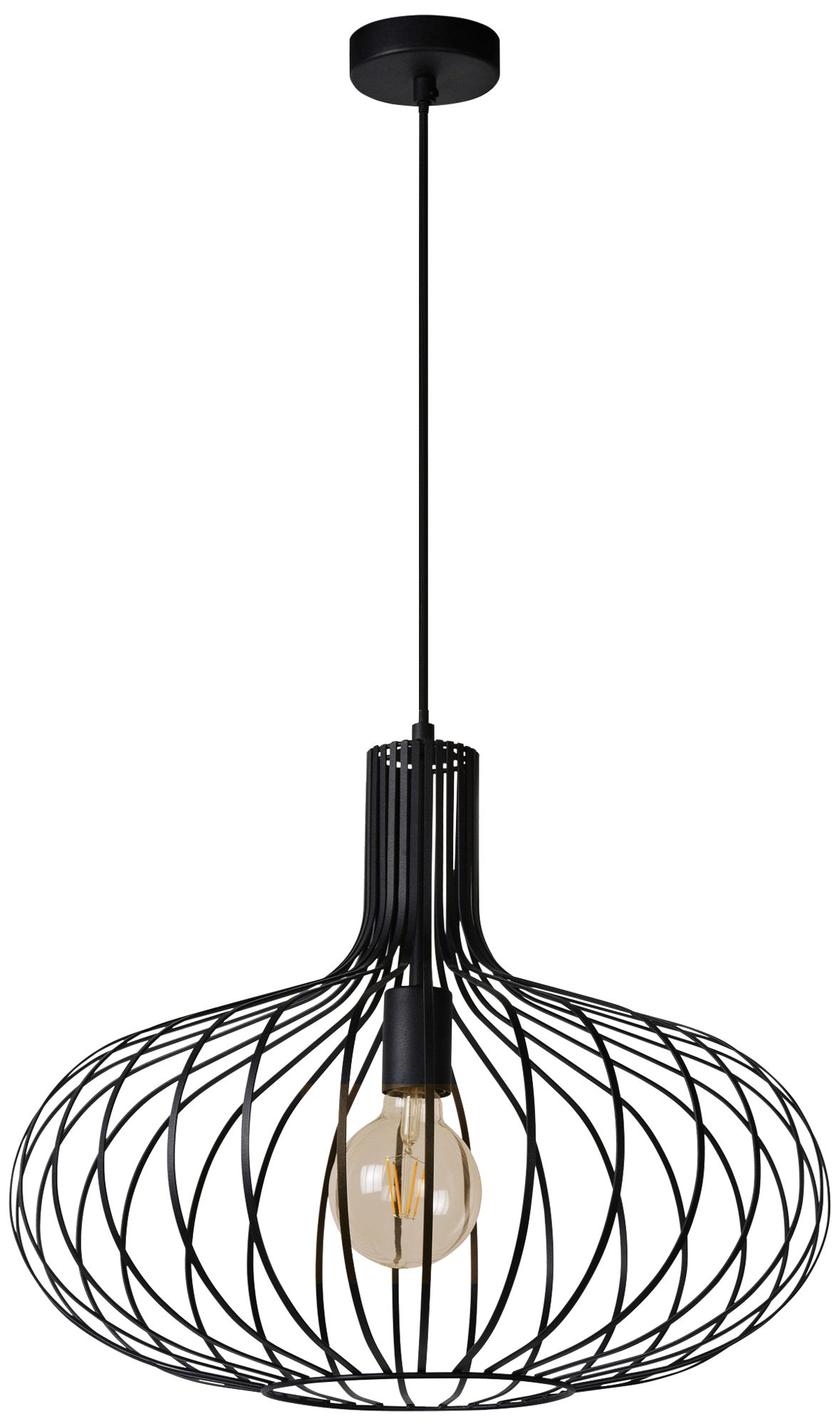 ione 19 3 4 wide textured black open cage pendant light