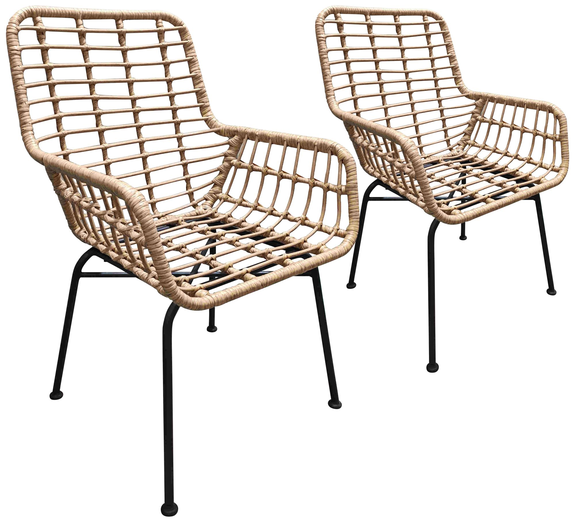 zuo lyon natural woven outdoor chairs set of 2