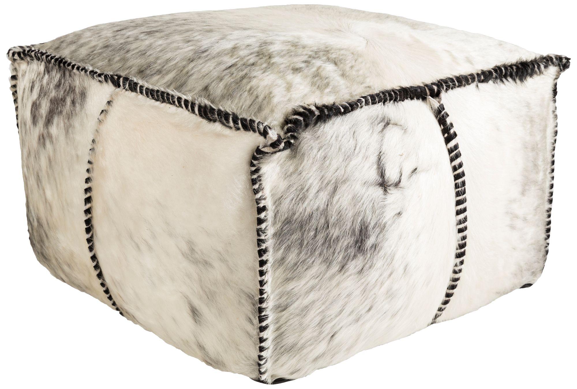 surya ranger black white hair on hide leather pouf ottoman