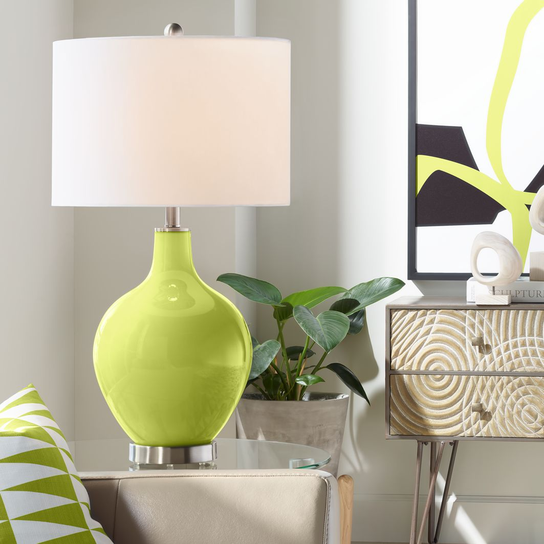 Details About Modern Table Lamp Parakeet Green Glass Ovo For Living Room Bedroom Nightstand
