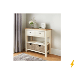 Newsham Oak Console Table With Storage Baskets Fully Assembled 100 At B M Latestdeals Co Uk