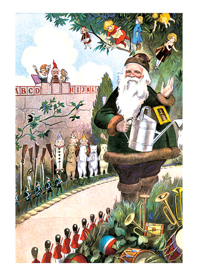 Santa In His Garden Santa Claus Christmas Greeting Cards
