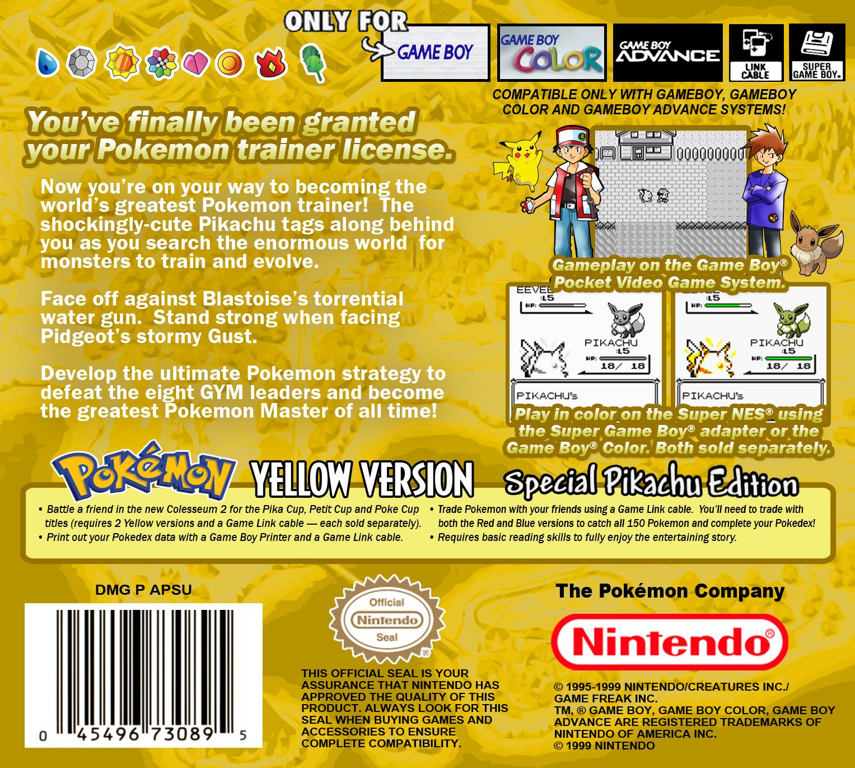 Pok 233 Mon Yellow Version Special Pikachu Edition Details