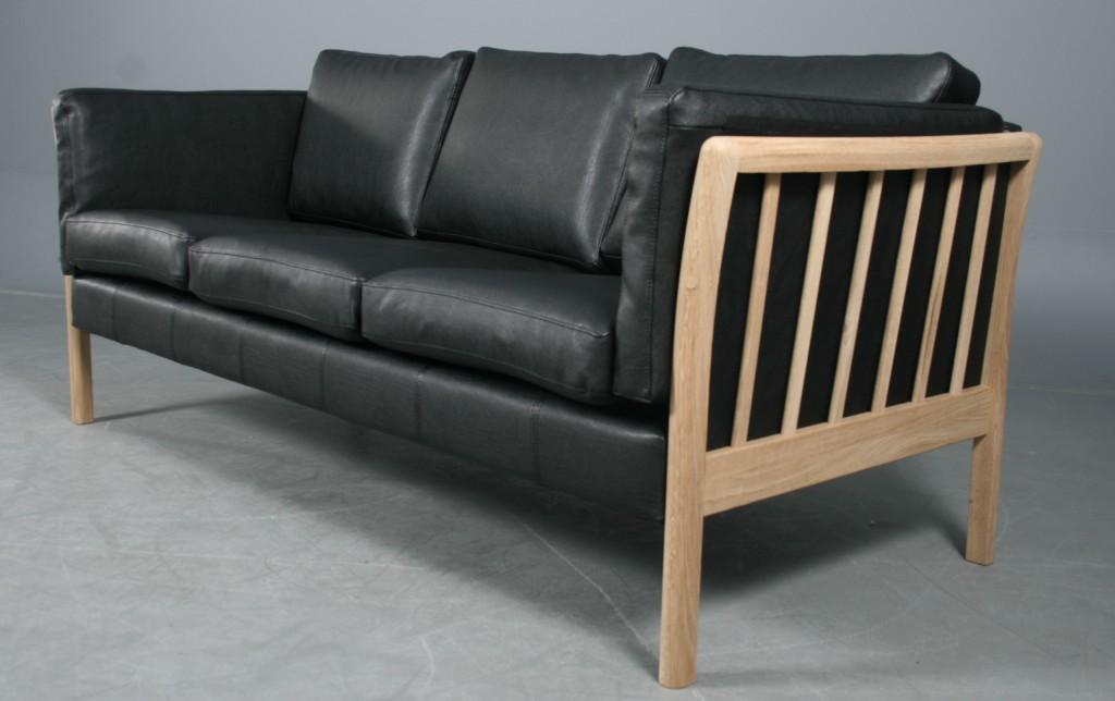 Dansk Design 3 Pers Sofa Model Skagen Eg Og Sort Laeder Lauritz Com