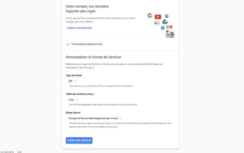 telecharger copie donnees personnelles google