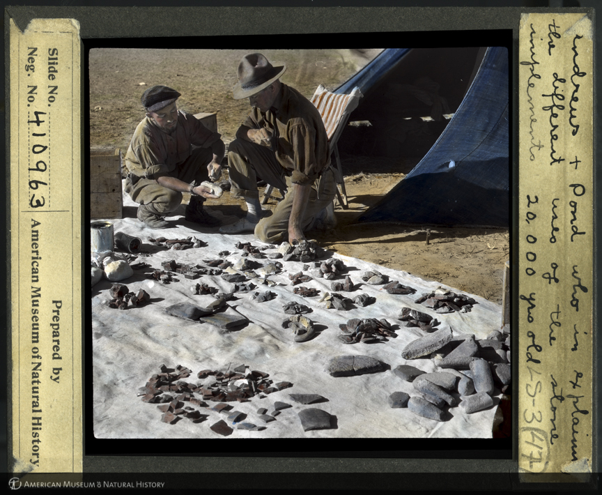 ID: LS3-47<br>Alonzo Pond and Roy Chapman Andrews discuss uses of 20,000 year-old stone implements, Third Asiatic Expedition