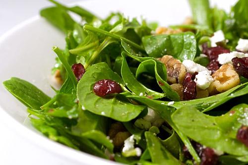 Spinach, Arugula, Cranberry and Walnut Salad