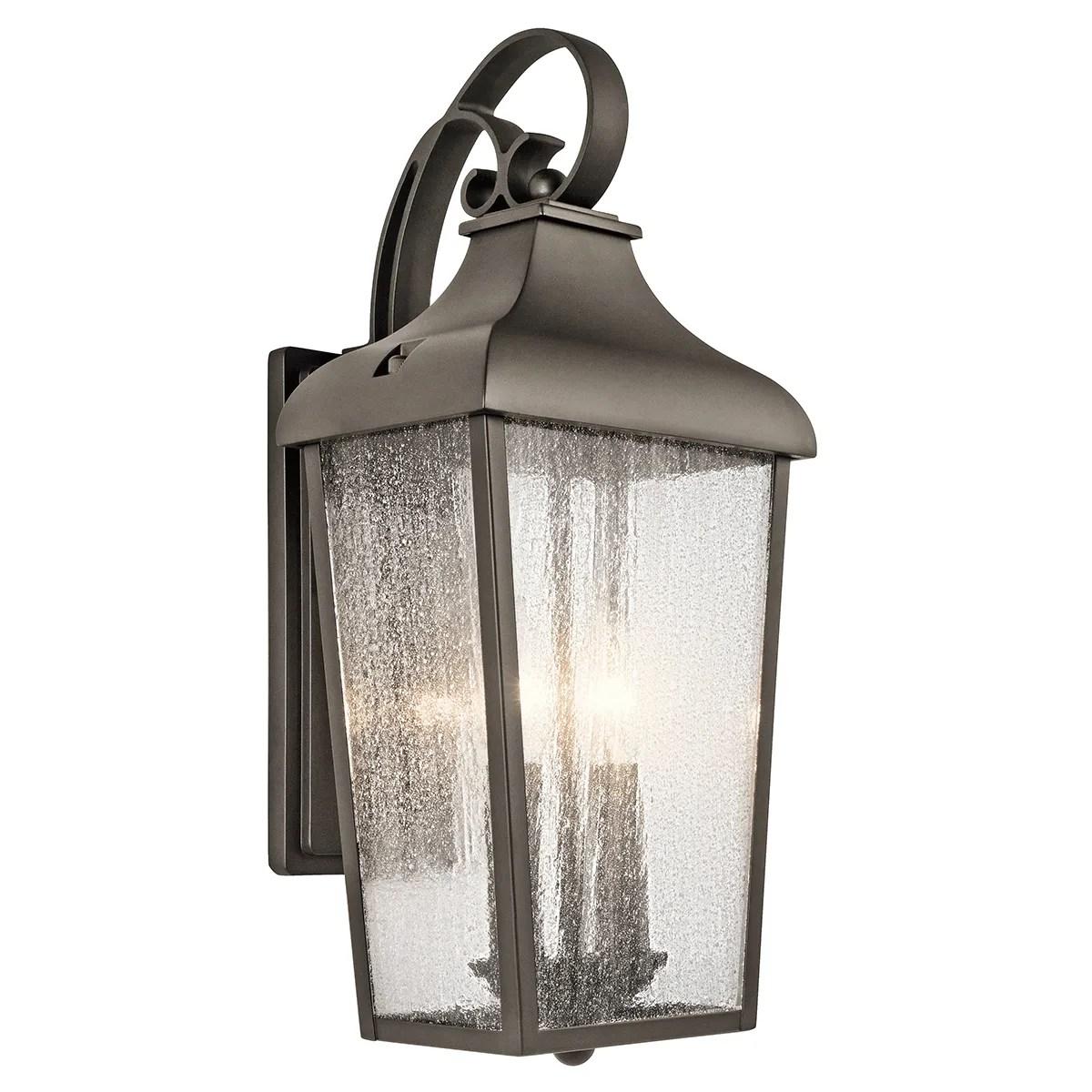 kichler forestdale 2 light medium outdoor wall lantern in olde bronze