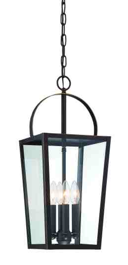 The Great Outdoors Rangeline 4 Light Contemporary Outdoor Hanging Light In Oil Rubbed Bronze With Gold Highlight