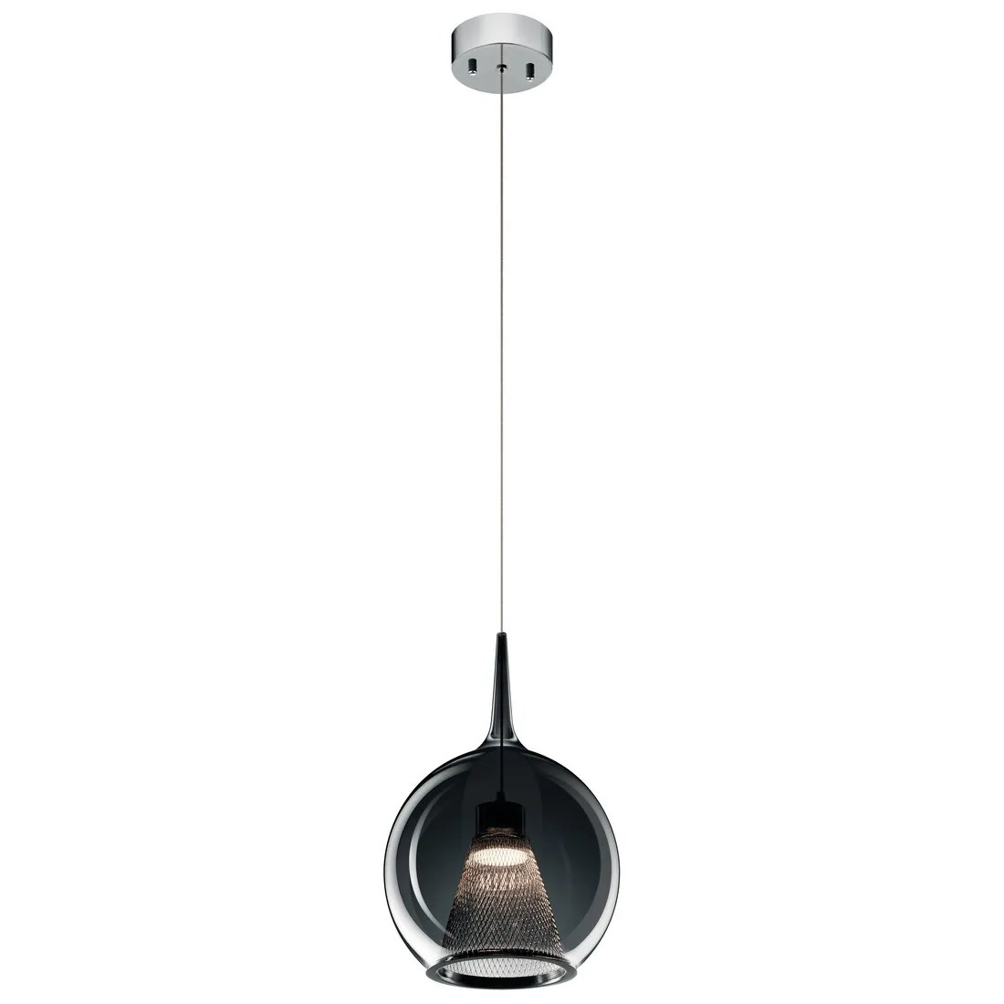 elan zin 9 75 led smoke glass mini pendant in chrome