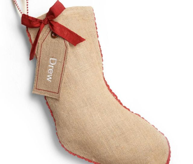 Burlap Personalized Christmas Stocking Plain With Gift Tag By Mud Pie