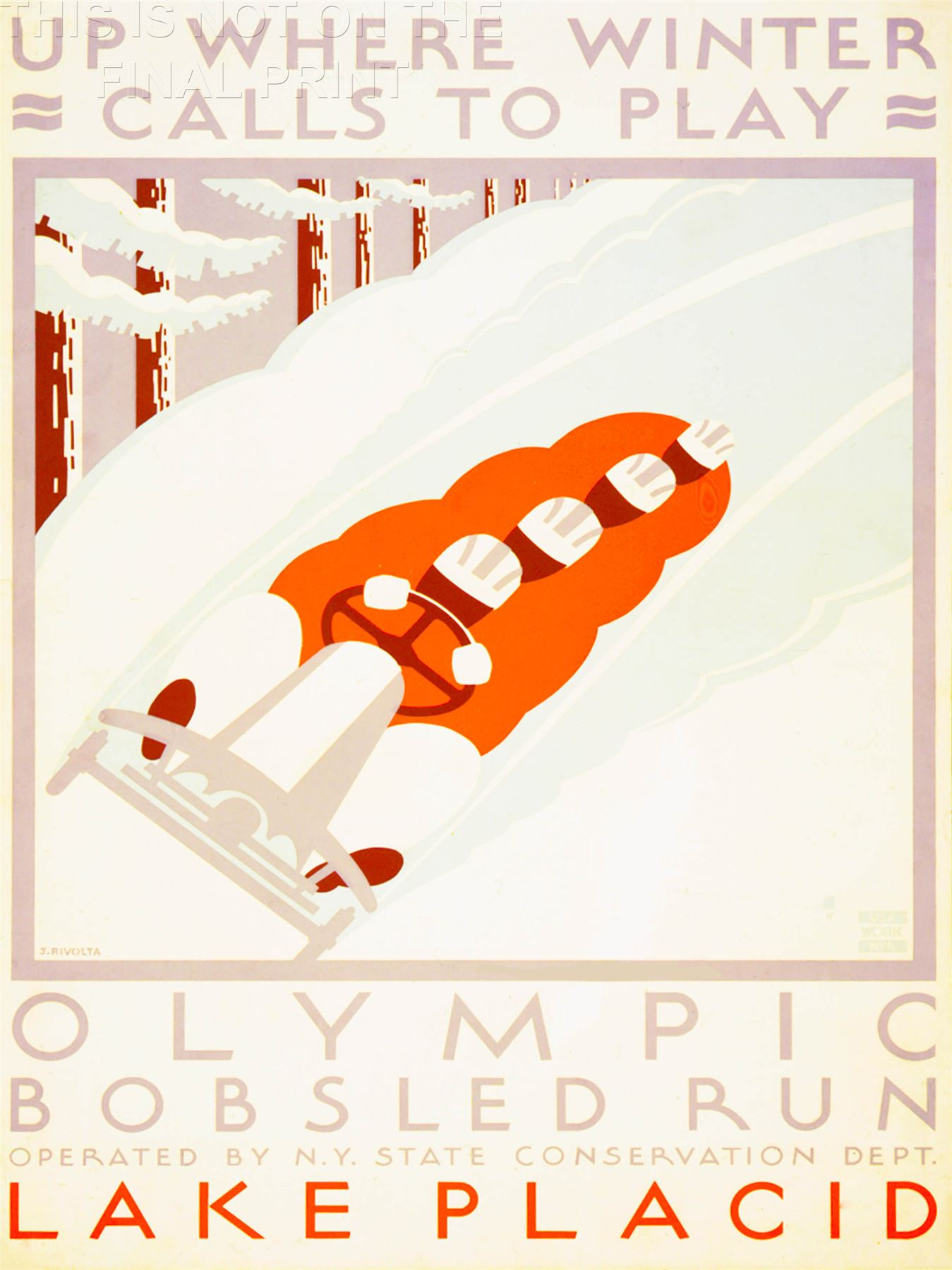 Print Poster Vintage Travel Sport Winter Olympic Bobsled