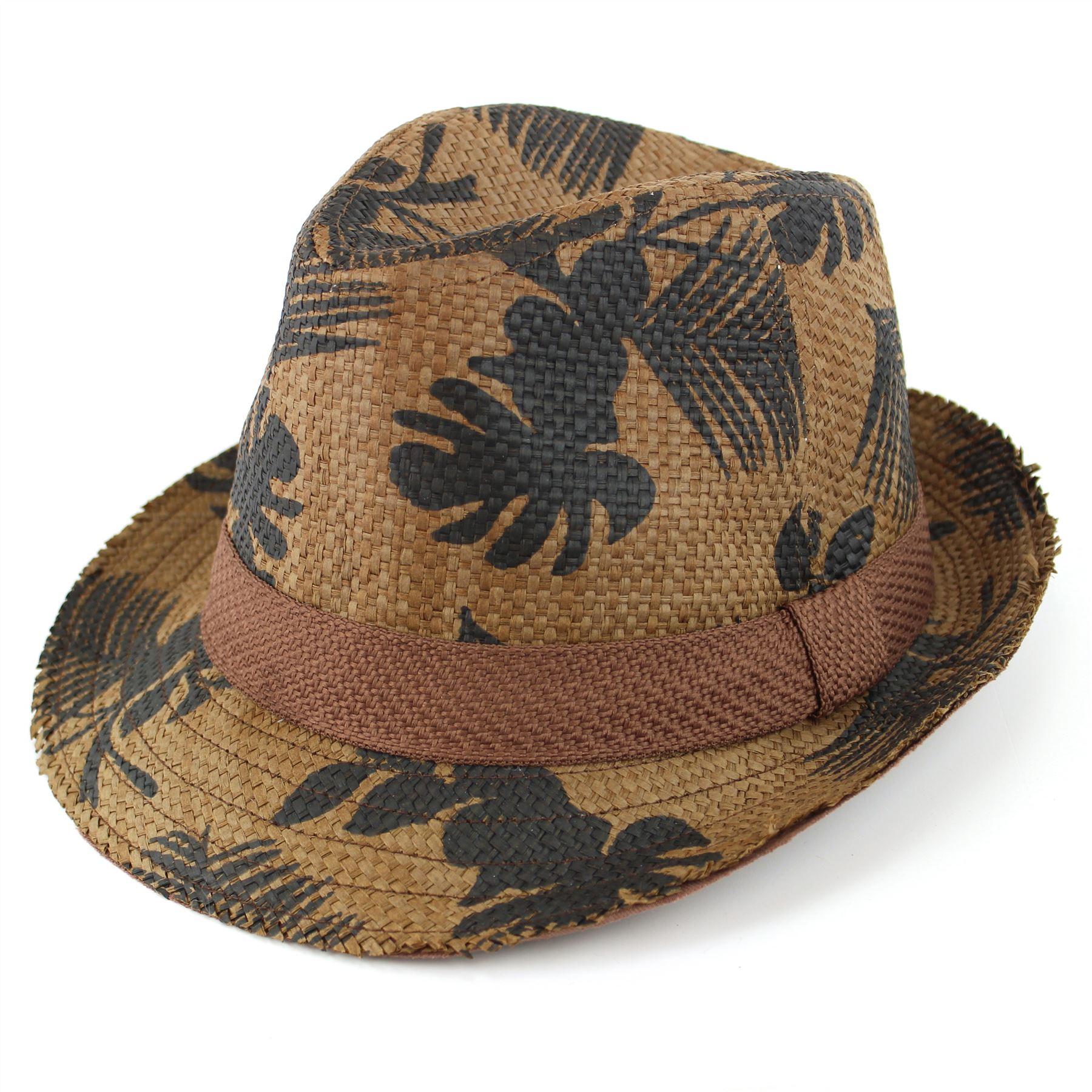 Fedora Hat Trilby Paper Straw Hawaiian Surf Flower Pattern