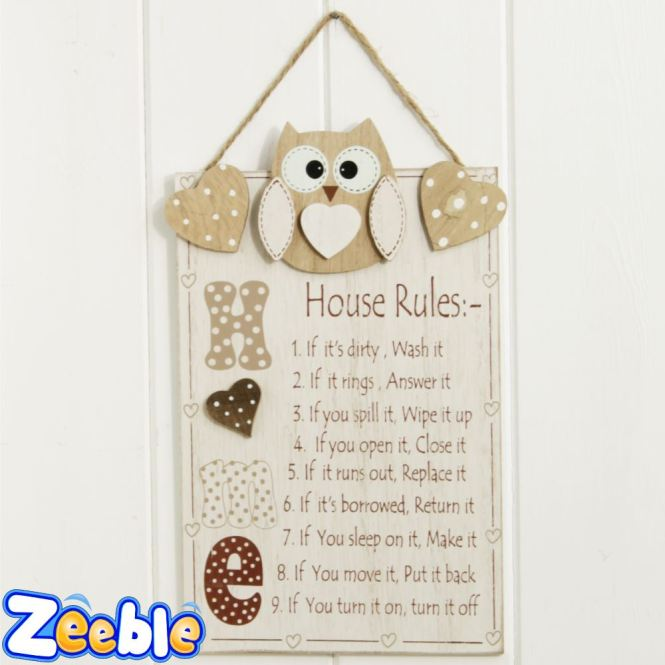 House Rules Or Bathroom Sign Cute Owl