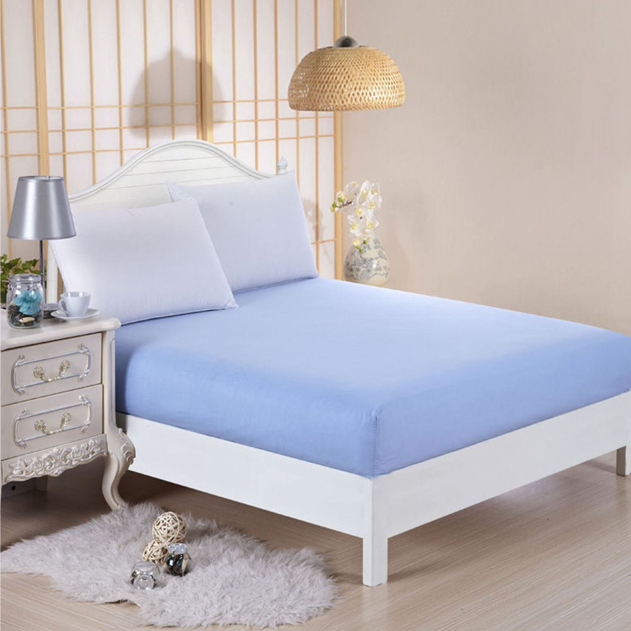 Dyed Matching Colour Plain Fitted Bed Sheets Size Single