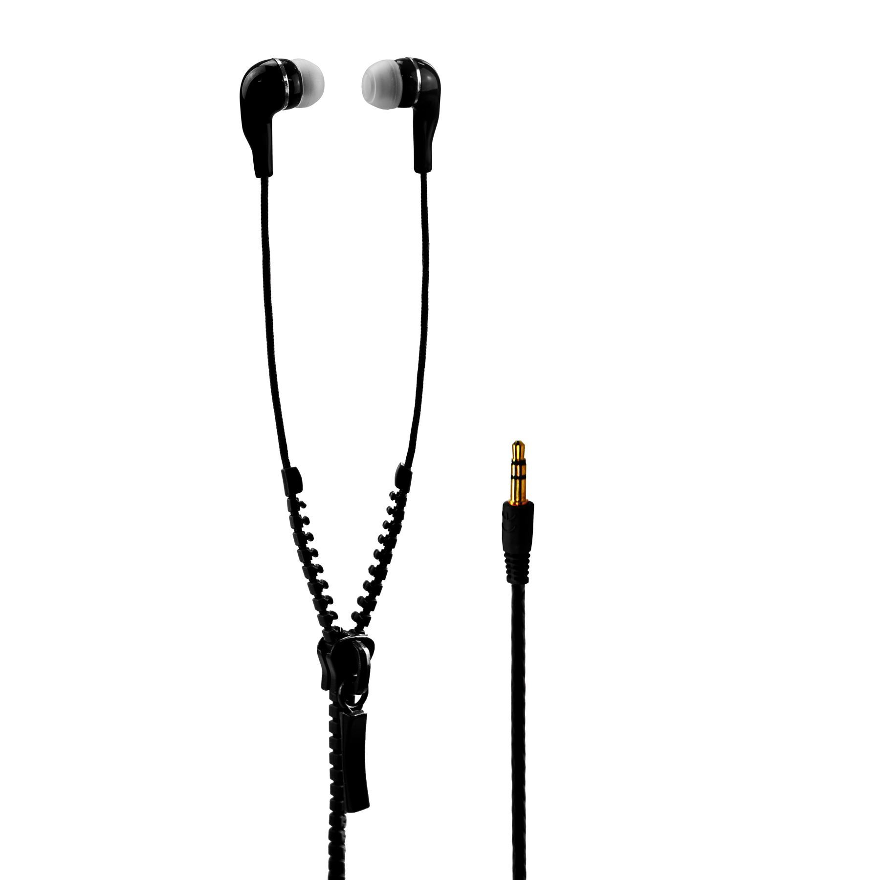 In Ear Zip Zipper Stereo Handsfree Tangle Free Headphone Earphone Earphones Mic