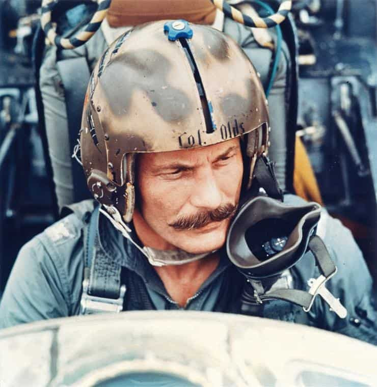 Much of American fighter pilot Robin Olds' notoriety derives from his statement handlebar moustache. Photo: Alamy