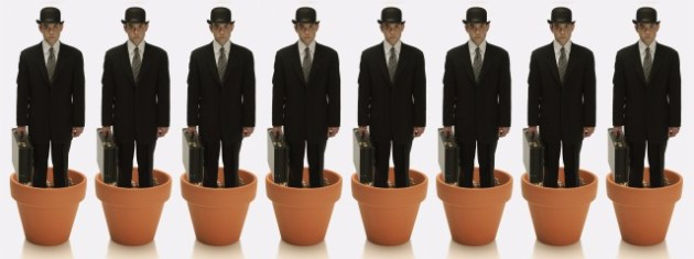 corbis - mascheroni - Cloned Businessmen Growing from Flower Pots