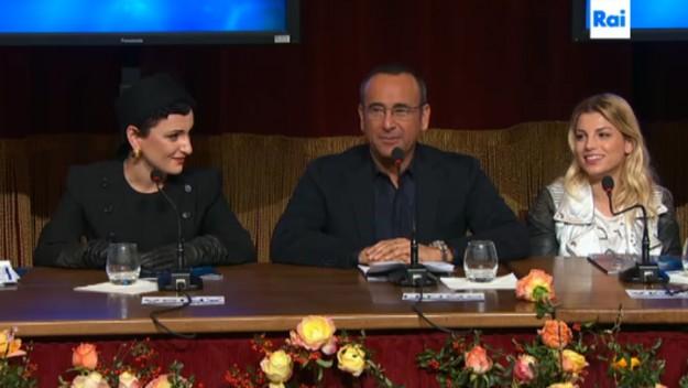 Conferenza stampa Arisa, Carlo Conti e Emma Marrone