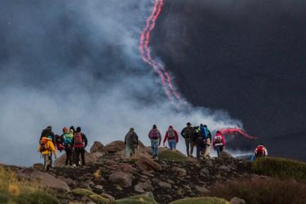 Colata lavica prodotta dai coni alla base del Cratere di Nord-Est durante l'estate del 2014.