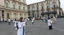 Protesta degli psicologi in piazza Università