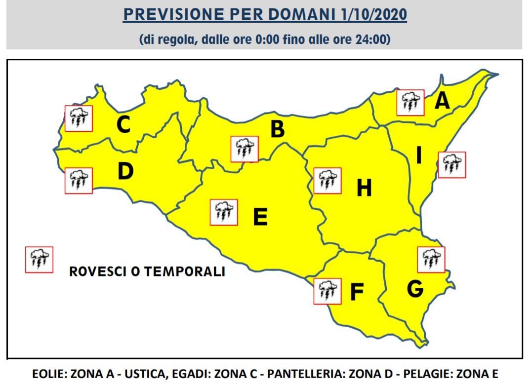 Meteo Sicilia, torna il maltempo: allerta gialla in tutta l'Isola