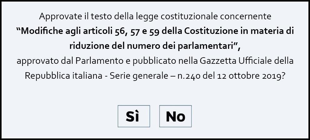 Testo referendum 2020 parlamentari sì o no