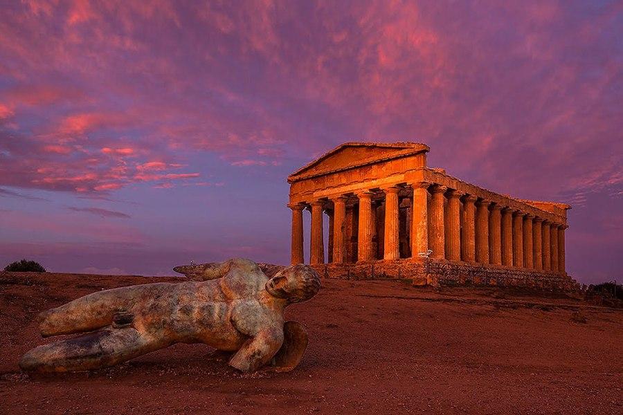 tramonto valle dei templi