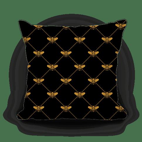 regal golden honeybee pattern pillows lookhuman