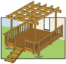 pergola attached to deck plans