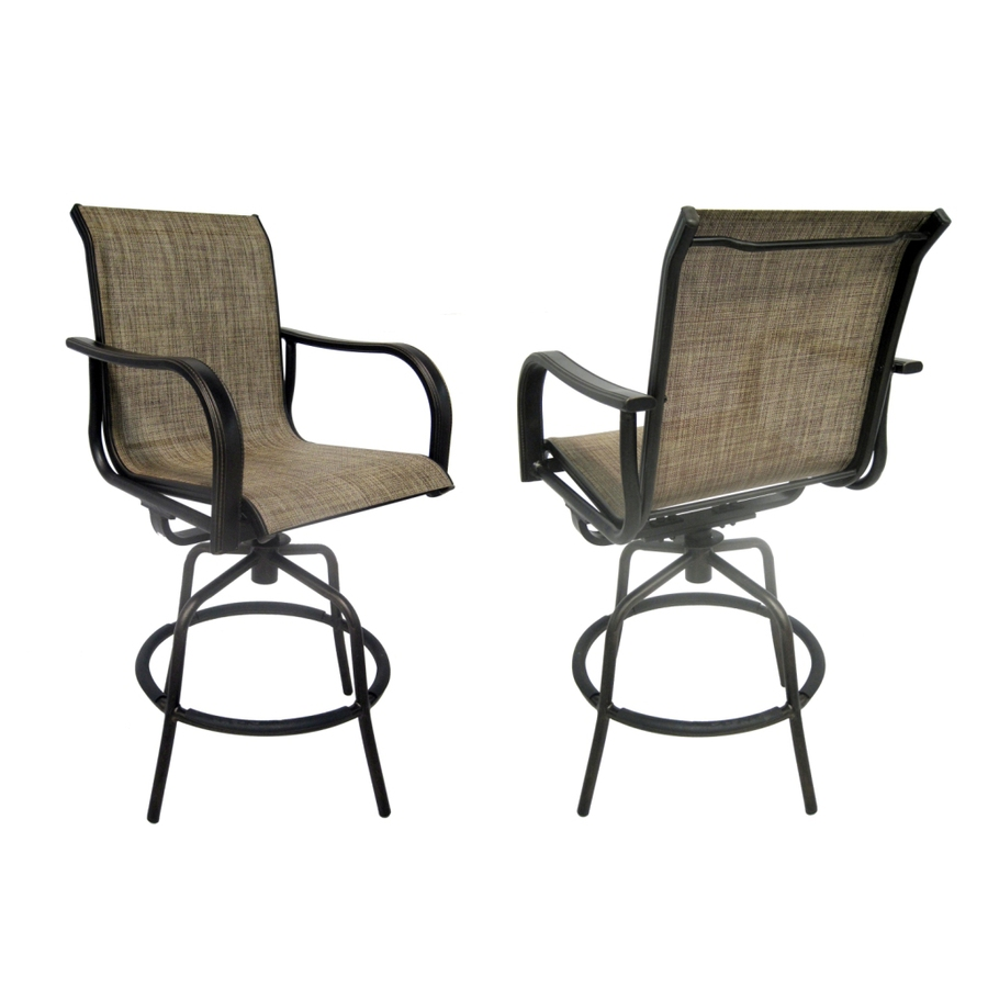 set of  tenbrook aluminum swivel patio bar height chairs at lowes com: bar height patio chair