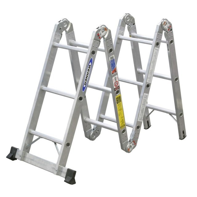 Shop Werner 12-ft Aluminum 300-lb Type IA Multi-Position Ladder at ...