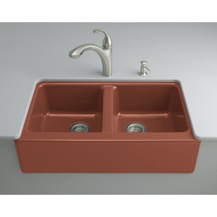 Red Double Basin Cast Iron Undermount Kitchen Sink